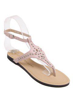 Rivet Flat Heel Flip-Flop Sandals - Pink 39