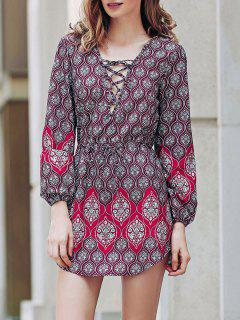 Loose Digital Print Round Neck Long Sleeve Dress - Red M