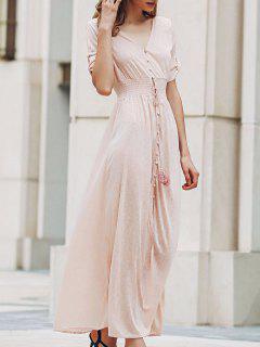 Pink Print V Neck Half Sleeve Maxi Dress - Pink Xl