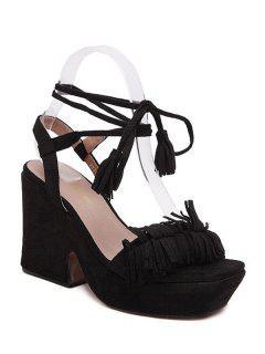 Fringe Platform Chunky Heel Sandals - Black 39