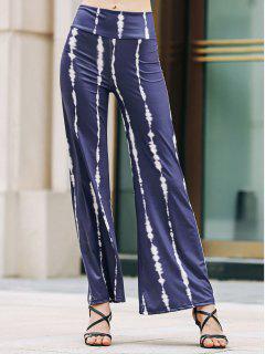 Striped Wide Leg Palazzo Pants - Purplish Blue S