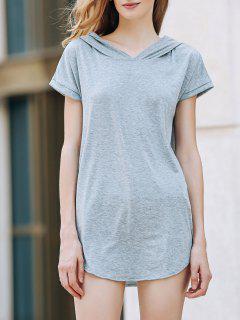 Capucha Diseño Del Bolsillo De La Camiseta - Gris 2xl