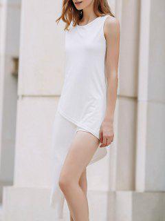 Asimétrica De Cuello Redondo Vestido Sin Mangas - Blanco Xl