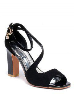 Flock Ankle Strap Chunky Heel Sandals - Black 39