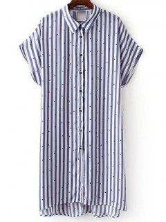 Button Down Striped Shirt Dress - Blue S