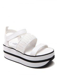 Plataforma Sandalias De Velcro Sólido Color - Blanco 39