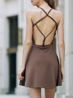 Solid Color Backless Scoop Neck Dress - Light Brown Xl