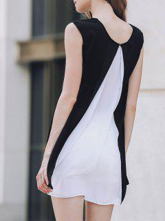 Cap Sleeve Hit Color Chiffon Dress - White And Black Xl