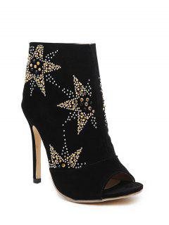 Black Rhinestone Stiletto Heel Peep Toe Shoes - Black 39