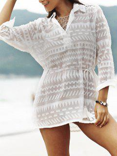 Solide Couleur See-Through Plongeant Long Neck Cover Up - Blanc
