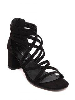 Chunky Heel Solid Color Strappy Sandals - Black 36