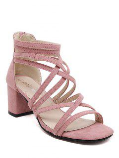 Chunky Heel Solid Color Strappy Sandals - Pink 36