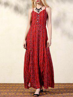 Tribal Print Double Slit Dress - Red L
