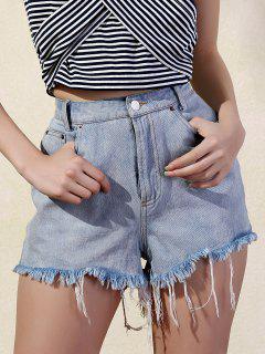 Ripped Denim Shorts - Light Blue M