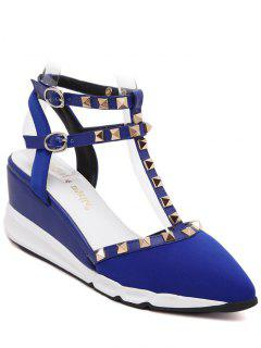 Rivet Pointed Toe T-Strap Sandals - Blue 39
