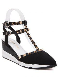 Rivet Pointed Toe T-Strap Sandals - Black 39
