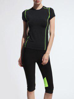 Short Sleeve T-Shirt + Cropped Pants Gym Suit - Black M