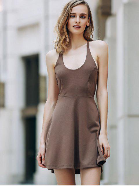 women's Solid Color Backless Scoop Neck Dress - LIGHT BROWN 2XL Mobile