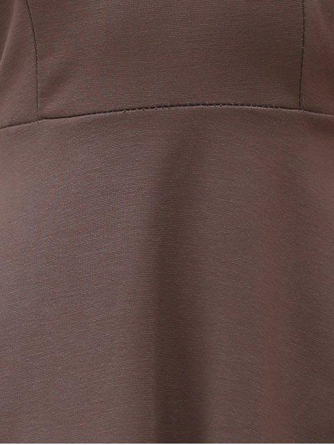 buy Solid Color Backless Scoop Neck Dress - LIGHT BROWN M Mobile