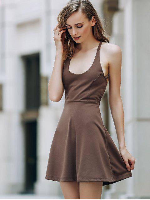 affordable Solid Color Backless Scoop Neck Dress - LIGHT BROWN S Mobile