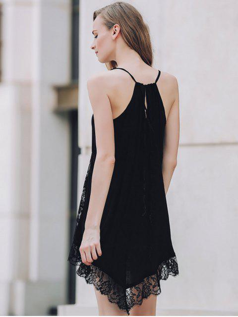 lady Lace Spliced Plunging Neck Irregular Hem Dress - BLACK S Mobile