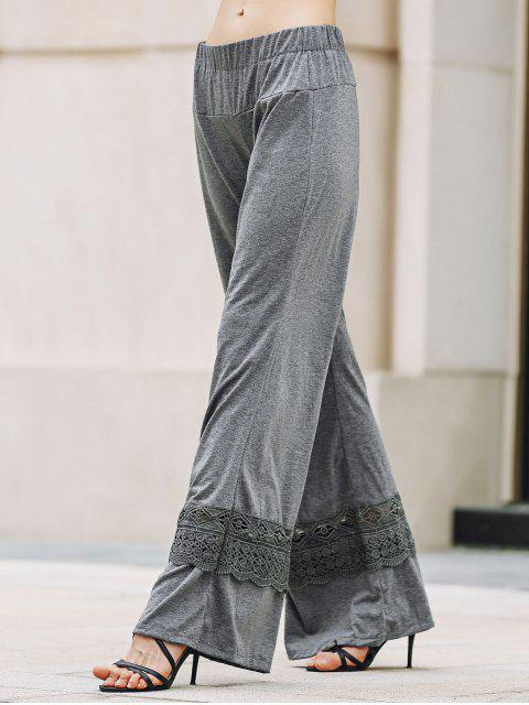 new Solid Color Lace Spliced High Waist Wide Leg Pants - GRAY XL Mobile