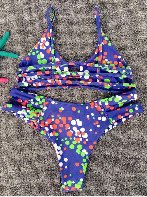 sale Tiny Circle Print Cami Bikini Set - PURPLE L Mobile