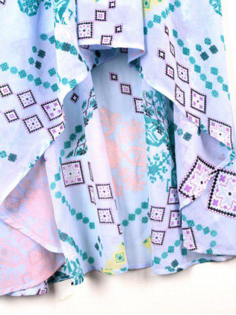 ladies Cross-Over Chiffon Dress - LIGHT BLUE M Mobile