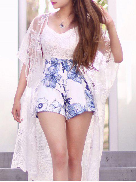 outfit Crochet Flower Print Spliced Romper - WHITE S Mobile