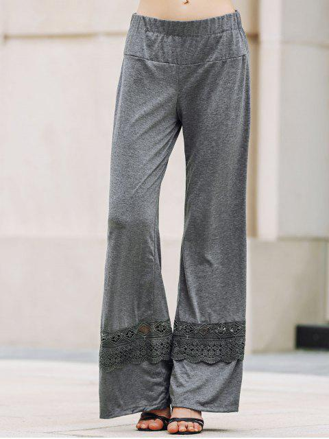 best Solid Color Lace Spliced High Waist Wide Leg Pants - GRAY M Mobile