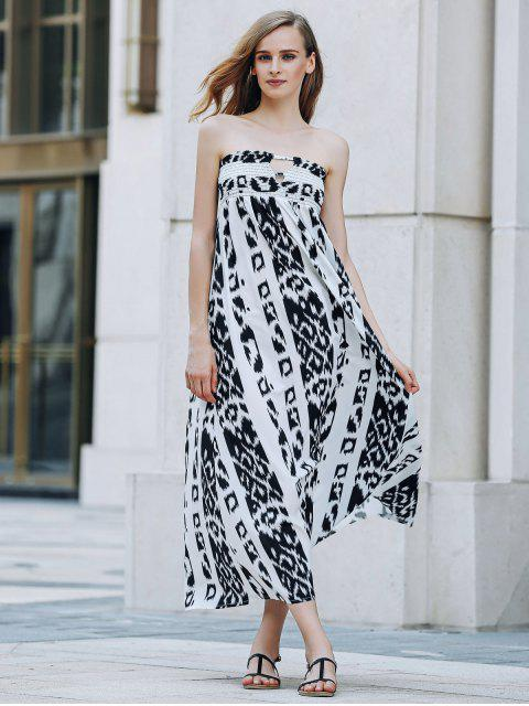 fancy Bohemian Bandeau Print Maxi Dress - WHITE AND BLACK XL Mobile