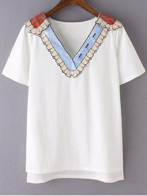 chic Sequined Neckline T-Shirt - WHITE L Mobile