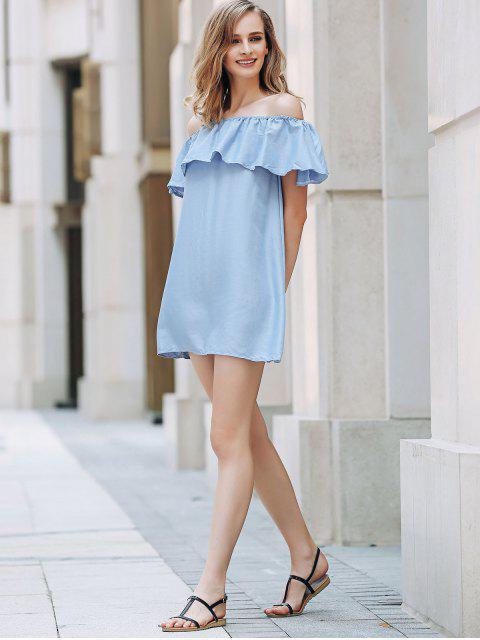 shop Short Sleeve Off The Shoulder Solid Color Dress - LIGHT BLUE M Mobile