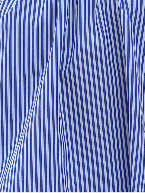 Vrac rayé à manches courtes Off The T-shirt de l'épaule - Bleu XL Mobile