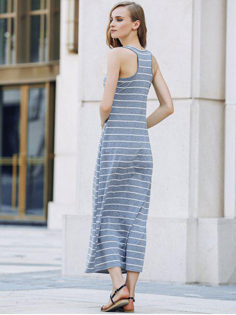 chic Stripe Racerback U Neck Sundress - GRAY M Mobile