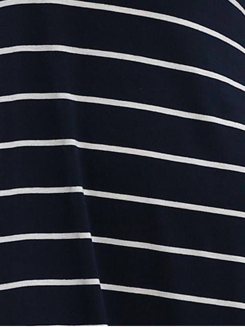 hot Stripe Racerback U Neck Sundress - SAPPHIRE BLUE XL Mobile