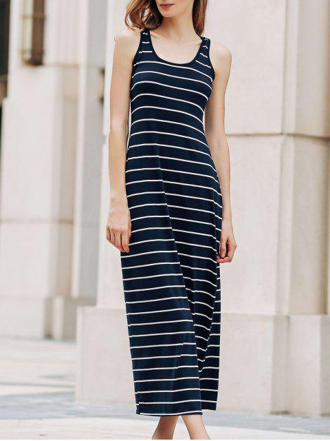 hot Stripe Racerback U Neck Sundress - SAPPHIRE BLUE XL Mobile