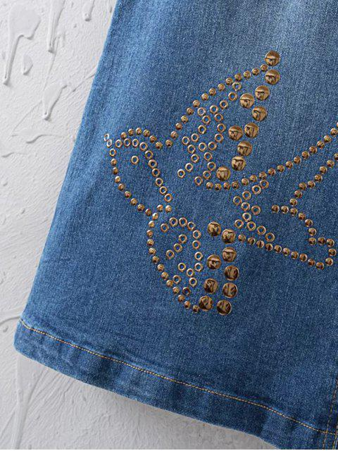 new Embellished A-Line Denim Skirt - BLUE S Mobile