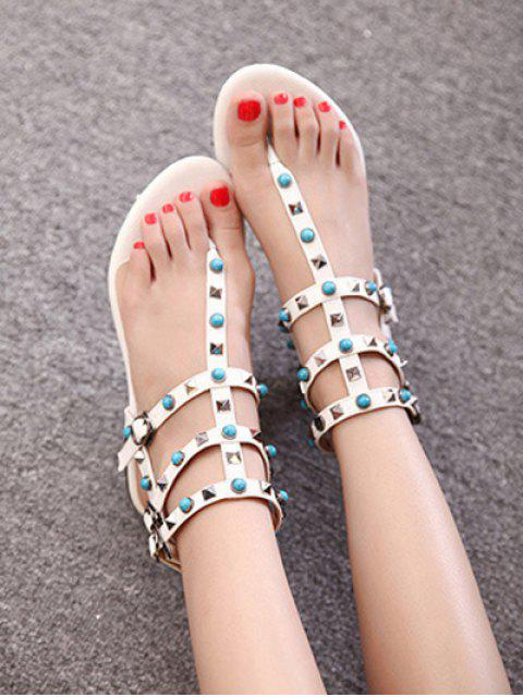 outfits Faux Turquoise Rivet Flat Heel Sandals -   Mobile