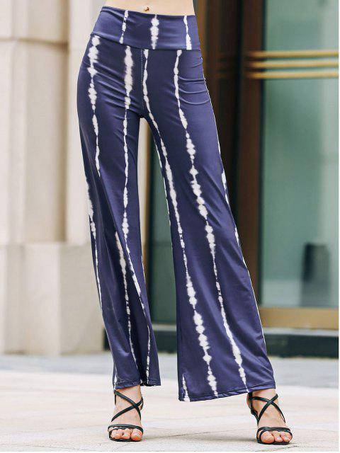 Pantalon rayé Wide Leg Palazzo - Bleu Violet S Mobile