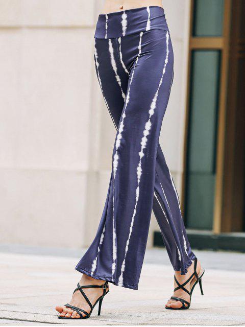 lady Striped Wide Leg Palazzo Pants - PURPLISH BLUE L Mobile