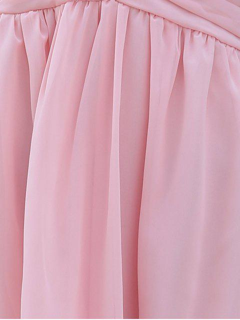 fancy Back Crossed Plunging Neckline Cut Out Dress - PINK M Mobile