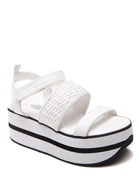 womens Platform Solid Colour Sandals - WHITE 39 Mobile