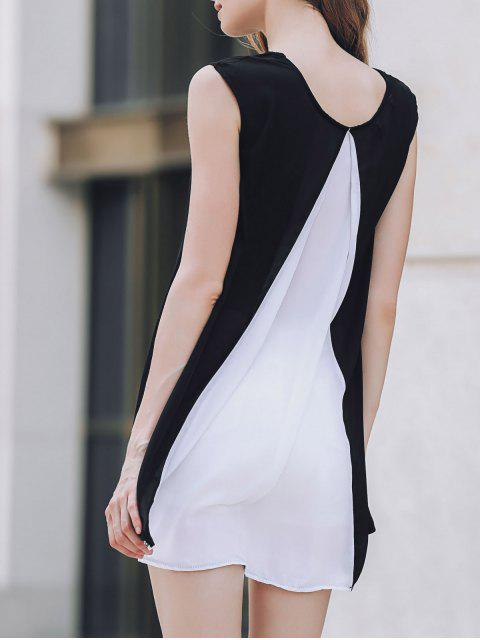outfit Cap Sleeve Hit Color Chiffon Dress - WHITE AND BLACK L Mobile