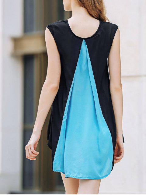 online Cap Sleeve Hit Color Chiffon Dress -   Mobile