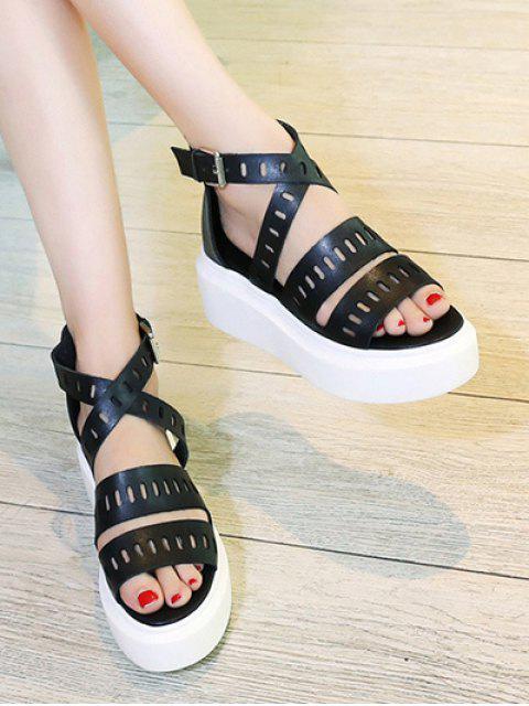 chic Platform Cross-Strap Hollow Out Sandals -   Mobile