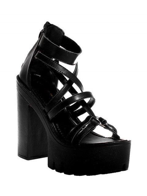 hot Black Platform Chunky Heel Sandals - BLACK 38 Mobile