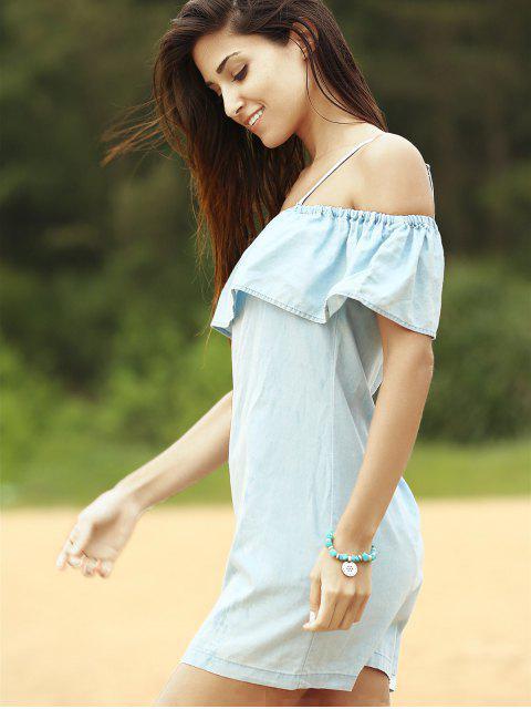 Robe denim embellie falbalas aux épaules dénudées - Bleu M Mobile