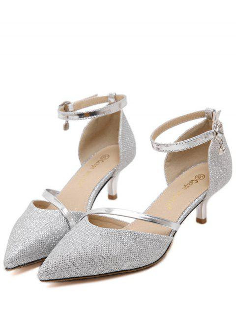 latest Two-Piece Sequied Cloth Pointed Toe Pumps -   Mobile