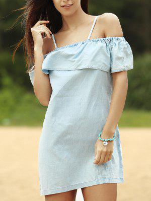 Robe Denim Embellie Falbalas Aux épaules Dénudées - Bleu M